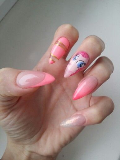 Pony nails #nails #paznokcie #gelnails #ponynails #pinkiepie #pinkiepiepony