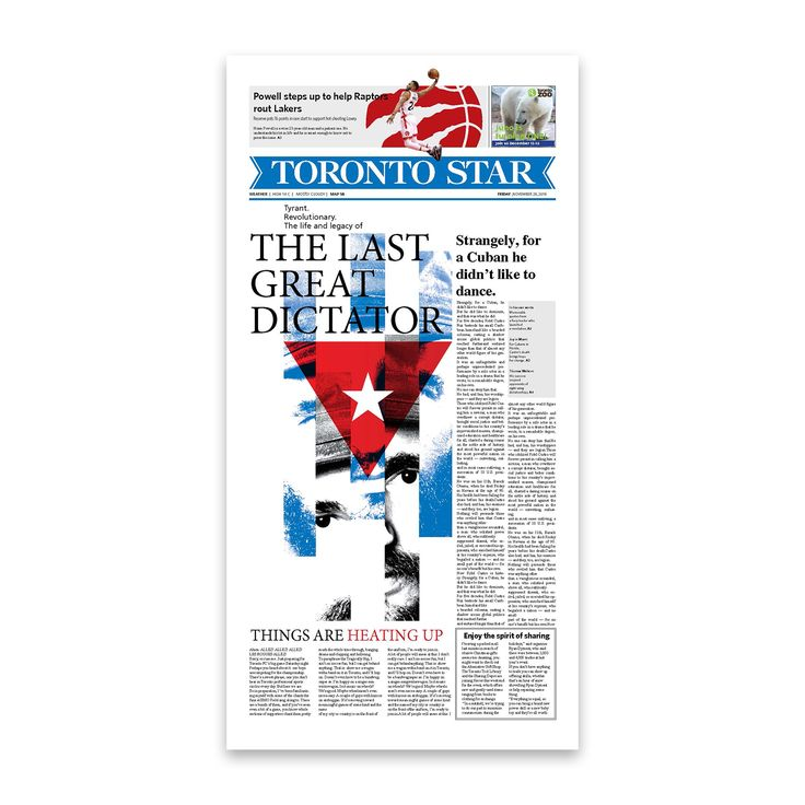 Front page design for The Toronto Star newspaper. . . . . . #graphicdesign @thetorontostar #cover #typography #typesetting #illustration #fidelcastro #cuba #newspaper @societyfornewsdesign @newspaperclub designer: @si.fani #toronto #canada #layout #aiga #aigadesign #print #Toronto #Ontario #Canada #newspaper #paper