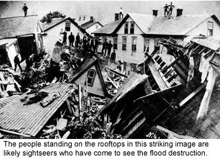 The results of the great Johnstown, Pa flood of 1889.