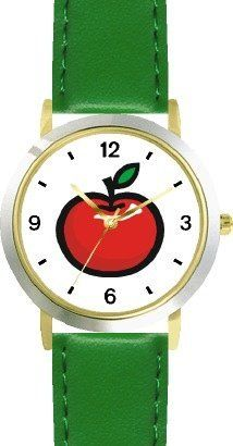 Red Apple 3 - WATCHBUDDY® DELUXE TWO-TONE THEME WATCH - Arabic Numbers - Green Leather Strap-Size-Children's Size-Small ( Boy's Size & Girl's Size ) WatchBuddy. $49.95