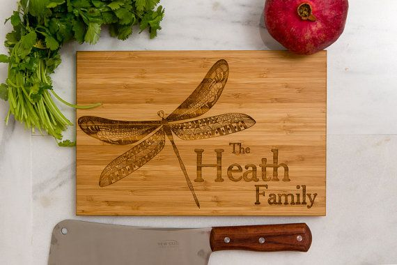 Personalized Cutting Board, Wedding Gift, Dragonfly, Anniversary Gift, Family Name, Engraved Gift, Monogram, Gift for Chef, Kitchen Decor
