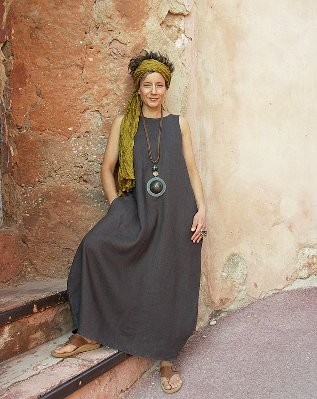 Robe en lin couleur 'Ardoise violine'-:- AMALTHEE CREATIONS-:- n° 3057