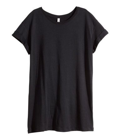 Dark rust red. Long T-shirt in jersey with sewn cuffs on sleeves.