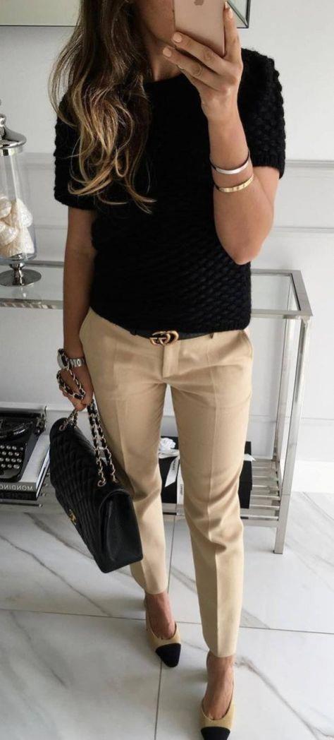 Office Style Addict Black Top Plus Bag Plus Pants Plus Loafers #topworkoutfits 1