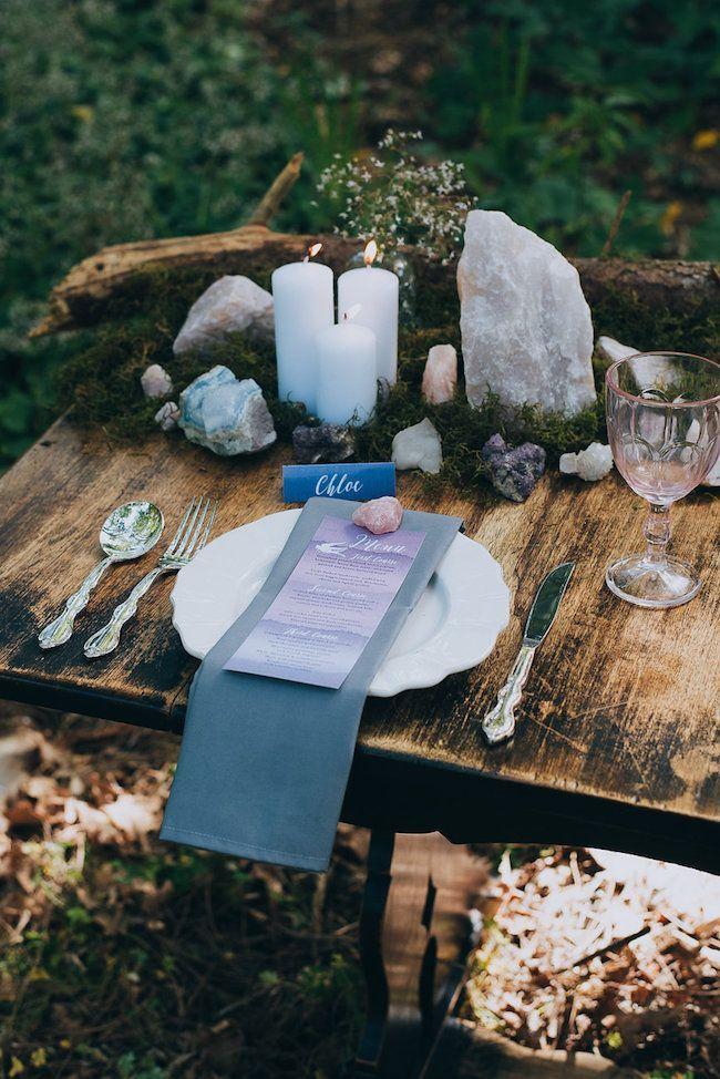 Rose quartz garlands, geodes, foraged wood & moss create mystique + magic in the forest.  Click for more ideas: http://www.confettidaydreams.com/geode-and-crystal-wedding-ideas/ via @confettidaydreams Styling: HAPPINEST Photography Lauren Pretorius