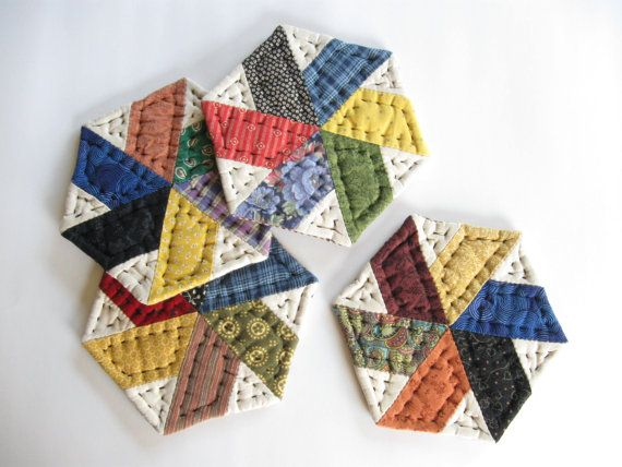 Quilted Coasters  Fabric Coasters  Mug Mats Rustic Home by dlf724, $17.00
