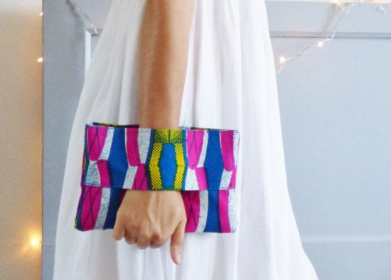 Pochette ethnique tissu wax africain multicolore par mylmelo