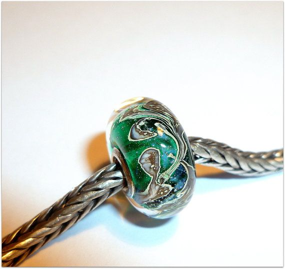 luccicare beads | Luccicare Lampwork Bead - Teal Space - Lined with Sterling Silver ...