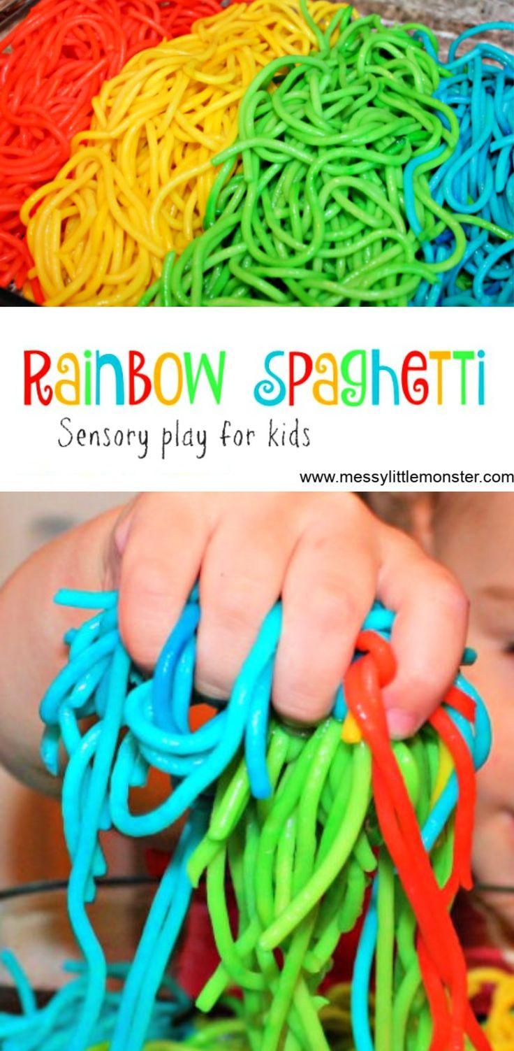 How to Make Rainbow Spaghetti for Sensory Play