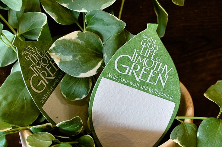 The Odd Life of Timothy Green Plantable Tag.     Paper by Porridge Press.