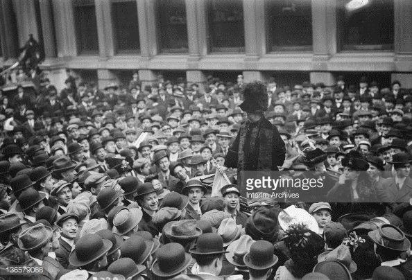 British suffragist leader Mrs. Emmeline Pankhurst (1858 - 1928) addresses a crowd on Wall Street, New York, November 1911.