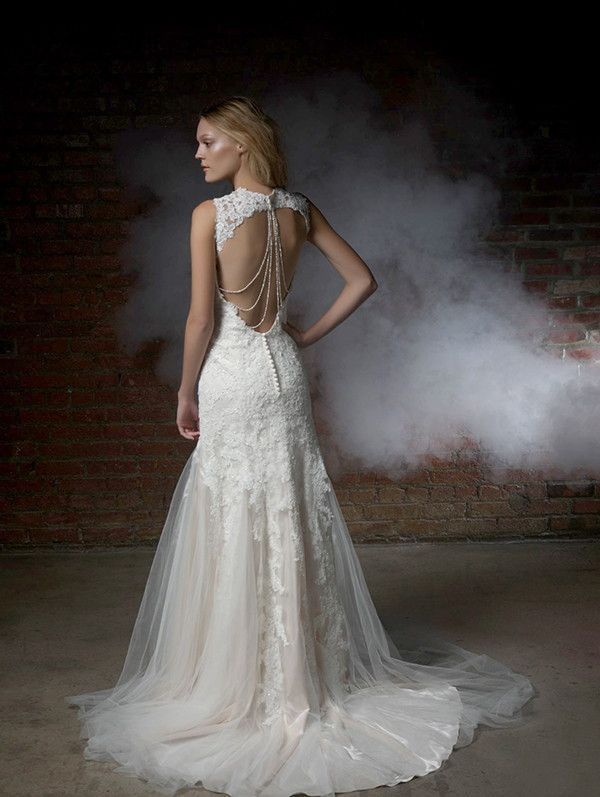 Textured fit and flare wedding dress with unique back | Henry Roth 2015 Wedding Dresses via @WorldofBridal