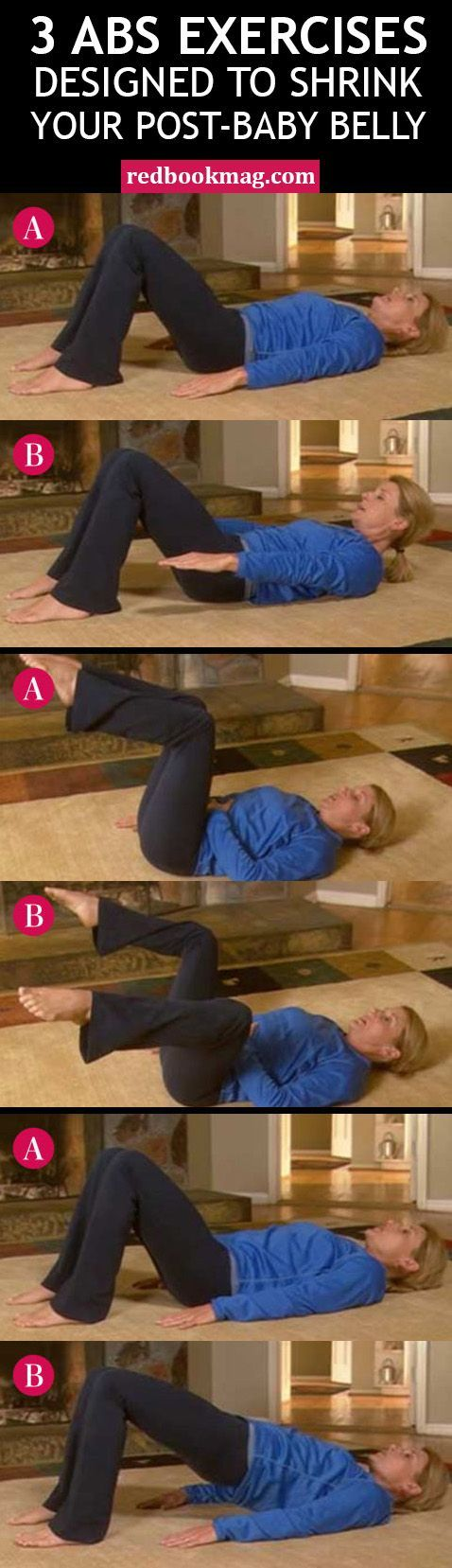 POST-BABY BELLY WORKOUT: If you're having a touch time getting rid of your post-baby belly, these exercises can help! Fitness expert and certified postnatal exercise specialist, Erin Denton, put together this routine to get strong and flat abs. Do 10 reps of each move every day for a week, and then 20 reps for three to four weeks (just be sure to get the okay from your doctor first). Click through for the full workout and instructions!