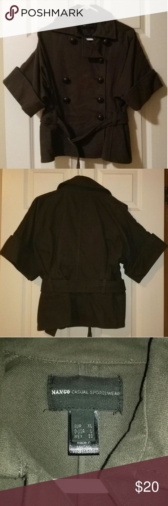 Cropped military Mango coat Dark grey cropped and belted military style Mango coat! Good condition!  EU XL/USA L Mango Jackets & Coats Pea Coats