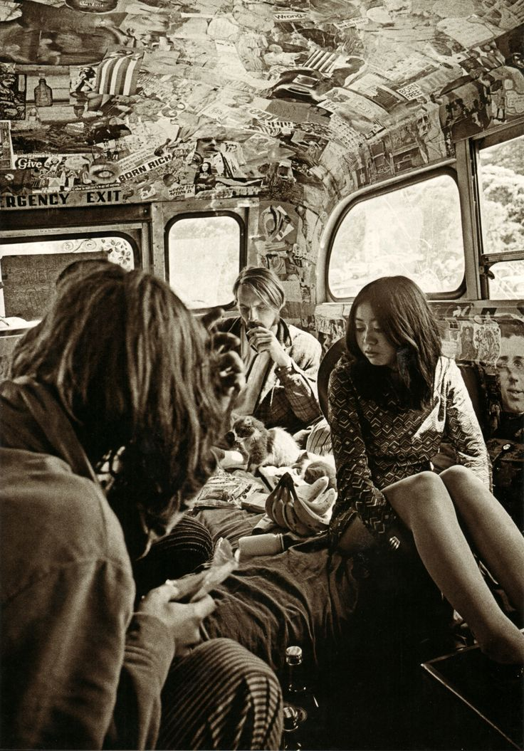 In the Merry Pranksters' psychedelic school bus (1967).