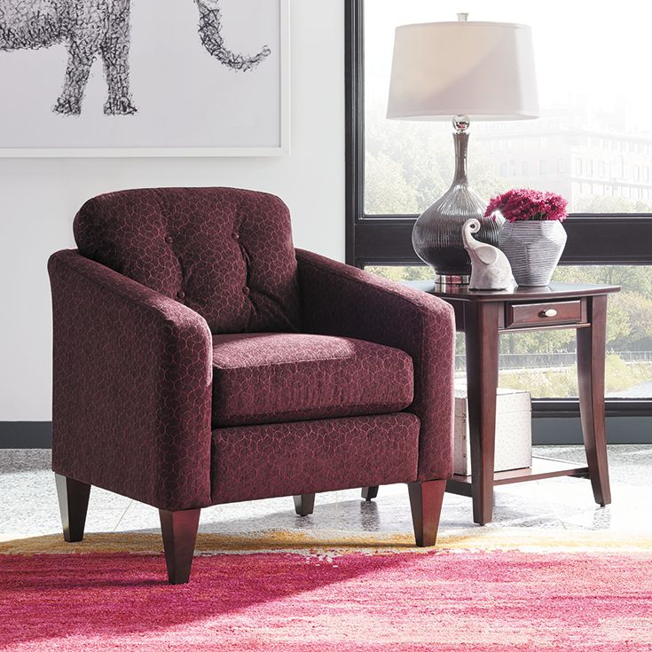 The La-Z-Boy Jazz chair is ideal for small spaces and makes a statement when used as a pair. Plus, PIN TO WIN an ottoman! Get contest details at http://houseandhome.com/la-z-boy | #LaZBoy #Furniture #Chair #LivingRoom