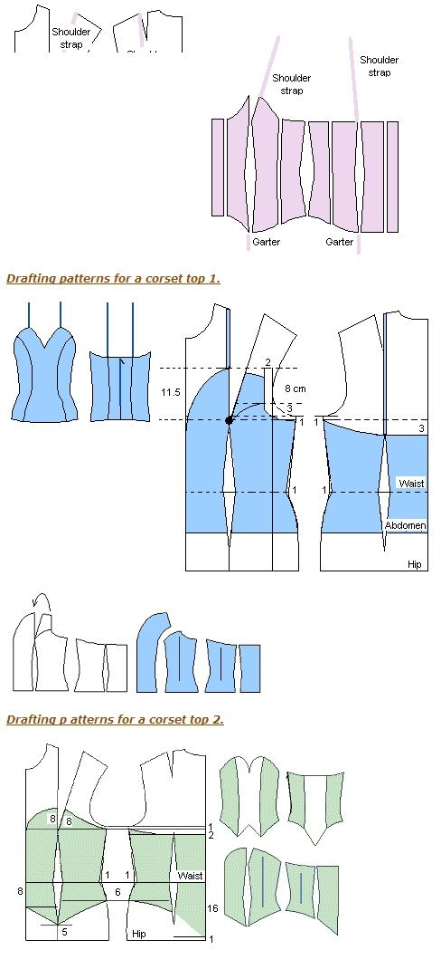 Bustiers , patterns instructions