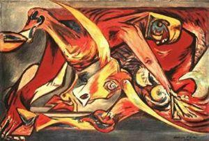 homme, taureau, oiseaux - (Jackson Pollock)