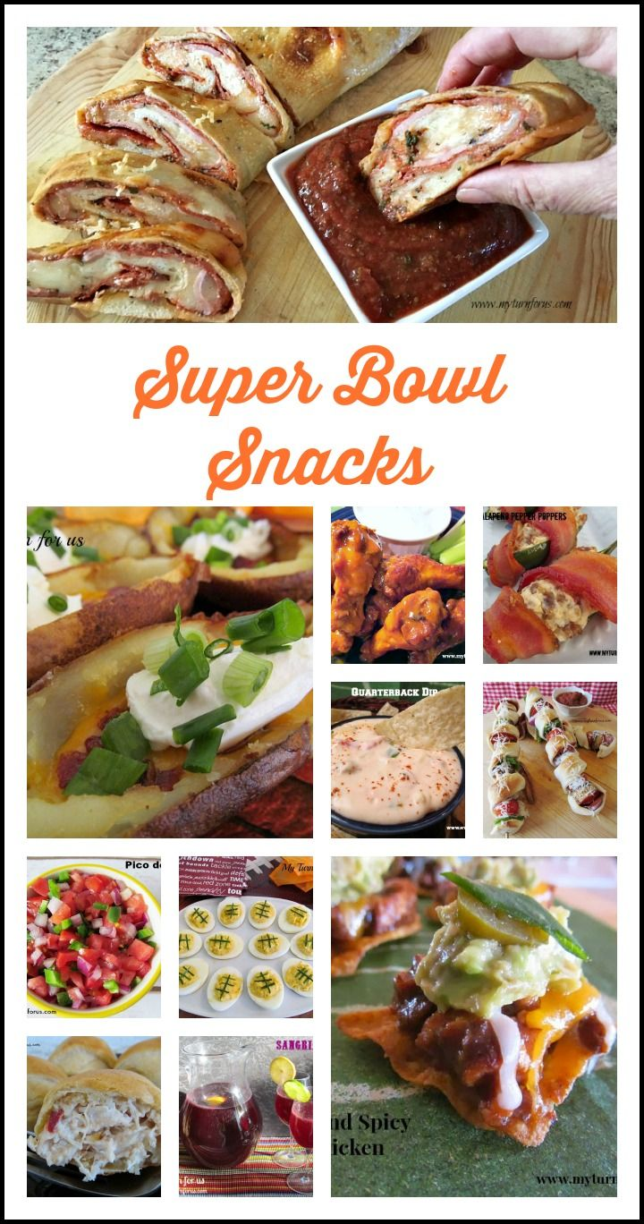 Super Bowl Snacks for the best parties!!     http://www.myturnforus.com/2014/01/12-super-bowl-snacks.html