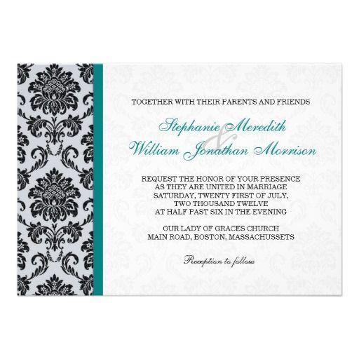 Teal Damask Monogram Wedding Invitation Black White