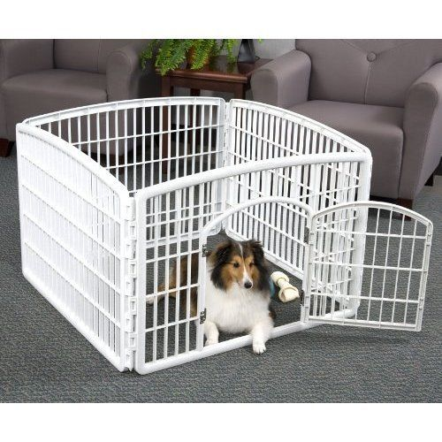 Pet Cat Dogs Cage Playpen Kennel Fence 24'' Durable Portable White US NEW #IRISUSAInc