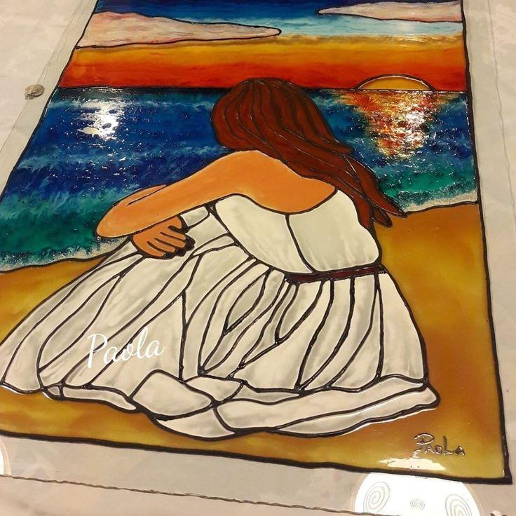 Hermoso  mi cuadro, realizado con pintura en vitral