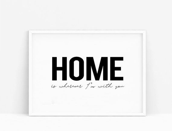 Homeis wherever I'm with you. Minimalist sign. por Byoliart en Etsy