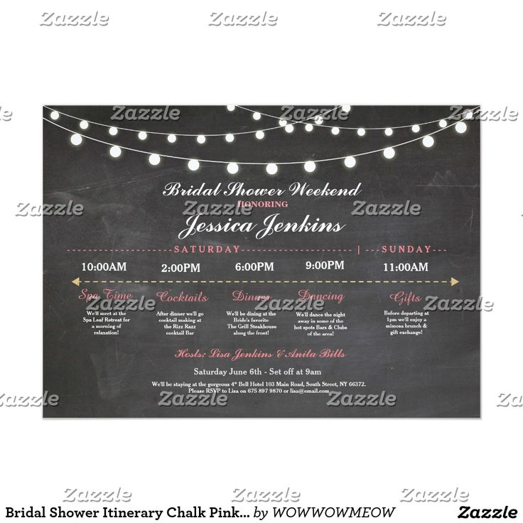 do you send thank notes for wedding gifts before the%0A Bridal Shower Itinerary Chalk Pink Bachelorette Card