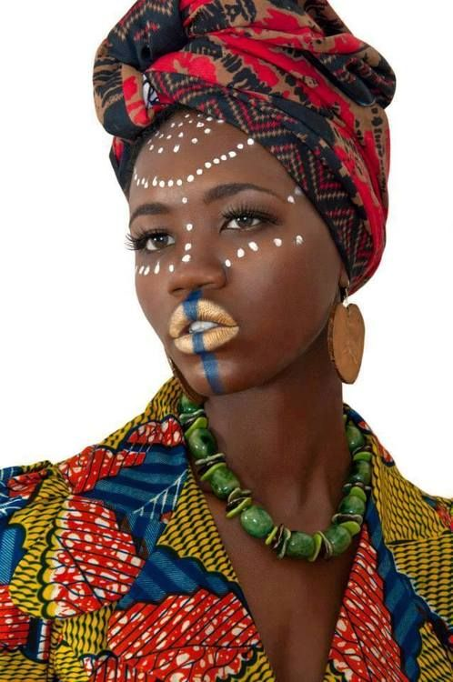 African girl. African makeup. African head wrap. African everything