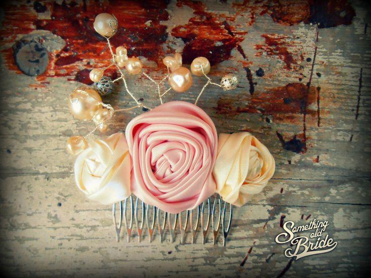Custom made Vintage Floral and Pearl Bridal Headdress  www.somethingoldbride.com Facebook/Something Old Bride