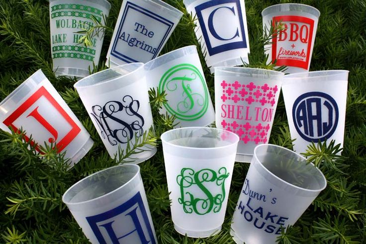 tailgating cups or just for the house!: Frostings Cups, Plastic Cups, Gifts Ideas, Shots Glasses, Parties Favors, Graduation Gifts, Funny Girls, Monograms Cups, Housewarming Gifts