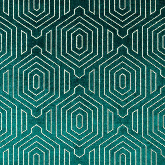 Dark Teal Geometric Cut Velvet Upholstery Fabric - Modern Teal Velvet for Furniture - Geometric Pillow Covers - Luxury Velvet Fabrics Online