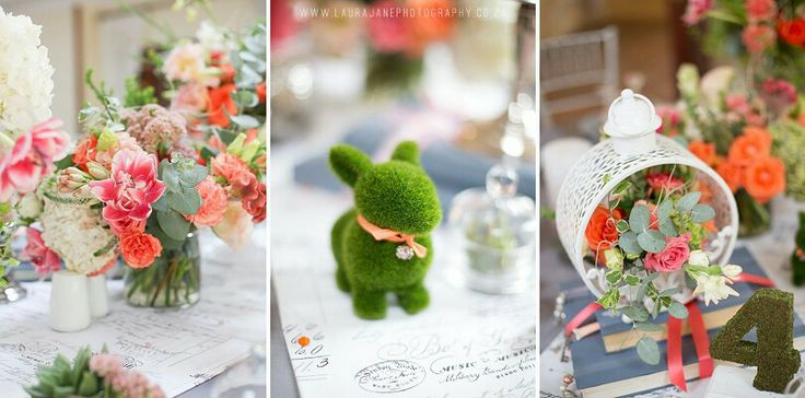 Whimsical decor with bunnies and coral colours