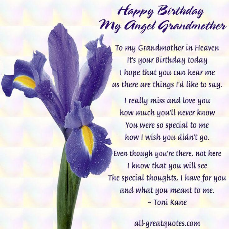 Happy Birthday My Angel Grandmother In Loving Memory