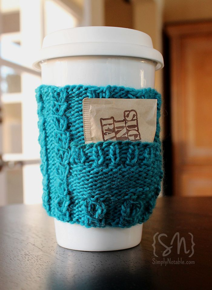 Both pretty and practical, pocket cozies have the perfect space to tuck in some extra sweetener or an extra teabag for later! Quick and easy – these clever little cozies make a perfect gift you can stitch up in an evening with less than 50 yards.Wrap them around a reusable cup and tuck in a giftcard to your favorite coffee house for a gift they'll use again and again…