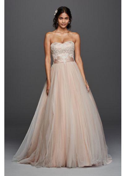 Strapless Tulle Beaded Lace Wedding Dress 4XLWG3795