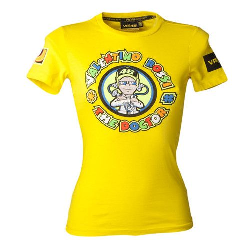 New Official Valentino Rossi Women's The Doctor Cartoon T-Shirt in yellow is part of this seasons Official Valentino Rossi merchandise range. This quality yellow t-shirt features Valentino Rossi's famous the doctor character on the front and the Moto Gp number 46 on the back.
