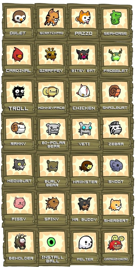 All animal orbs from Castle Crashers
