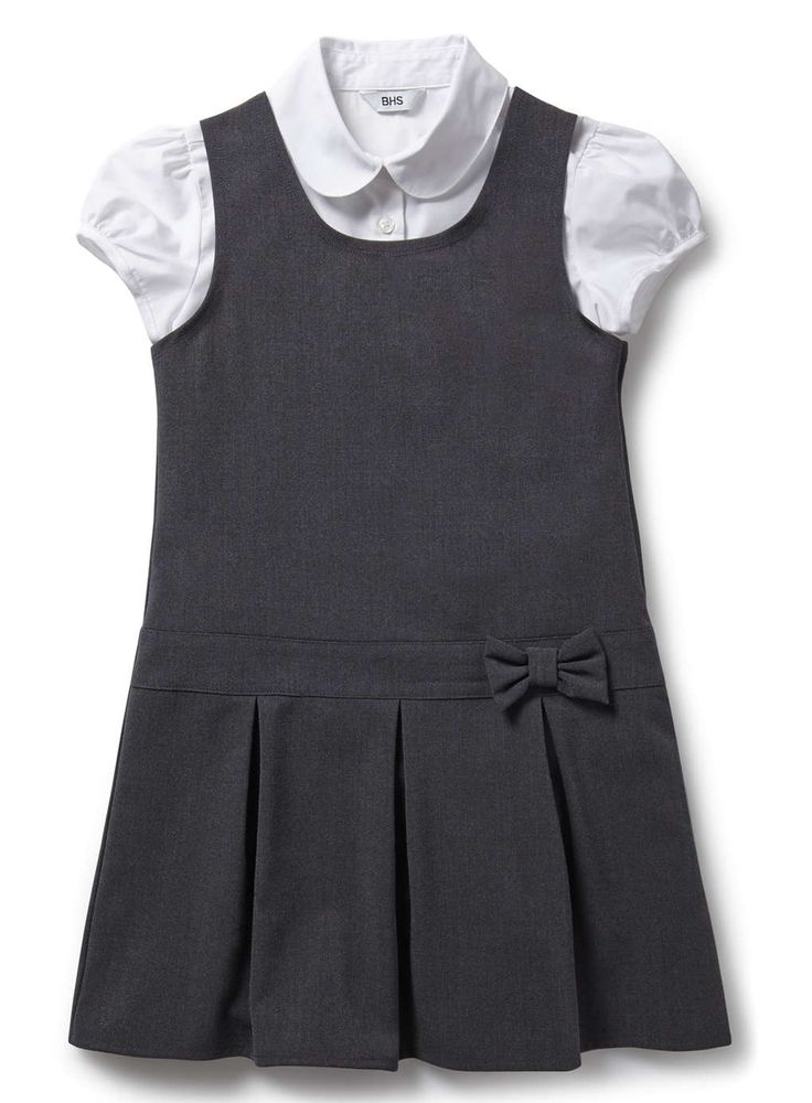 Junior Girls Charcoal School Pinafore and Blouse Set