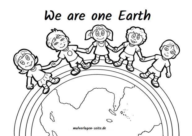 Malvorlage We Are One Earth Ausmalbilder Ausmalbilder Kinder Kostenlose Ausmalbilder