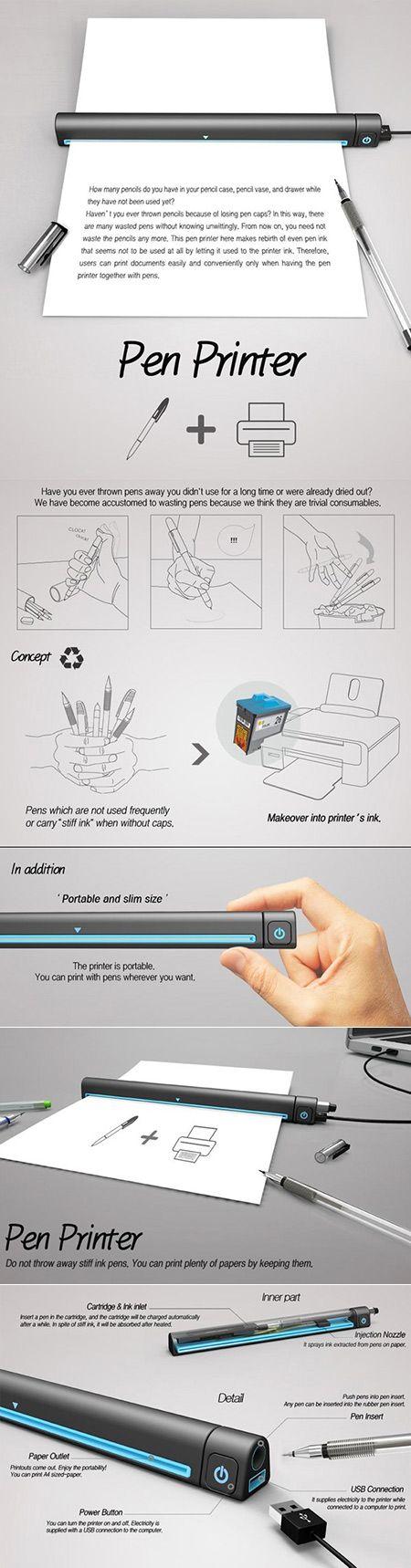 Una impresora que usa como tinta la que le queda a los bolígrafos viejos.
