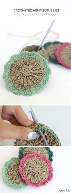 Crochet hemp scrubbies - free pattern. Hemp is naturally antibacterial, which makes these little scrubby pads perfect for cleaning! ☂ᙓᖇᗴᔕᗩ ᖇᙓᔕ☂ᙓᘐᘎᓮ http://www.pinterest.com/teretegui
