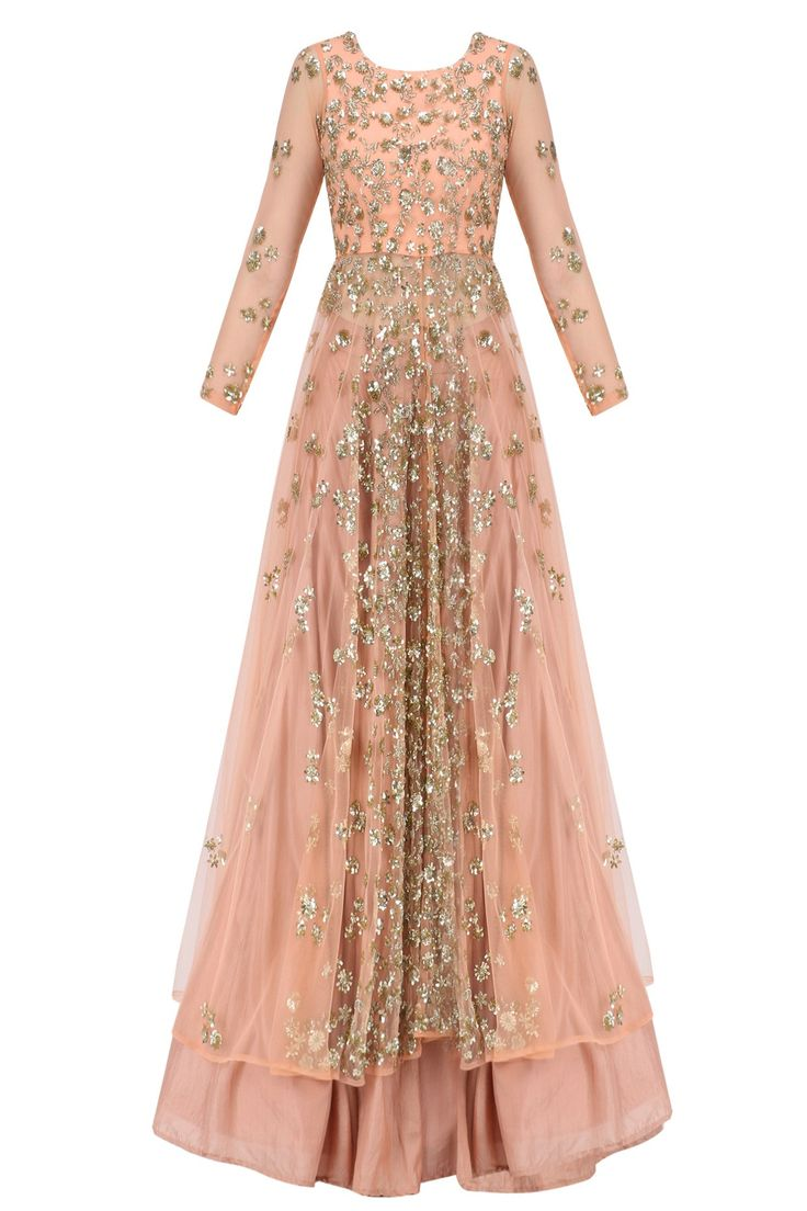 astha narang coral flared jacket kurta in net with sequin shimmer sequin handwork all over. It comes along with coral flared skirt in silk.