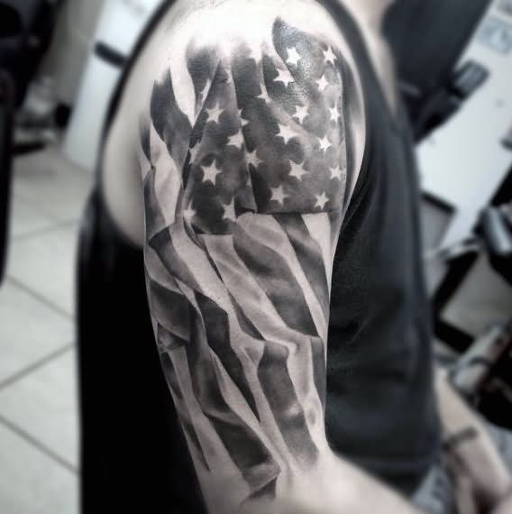 Cool Black And White USA Flag Tattoo On Right Half Sleeve