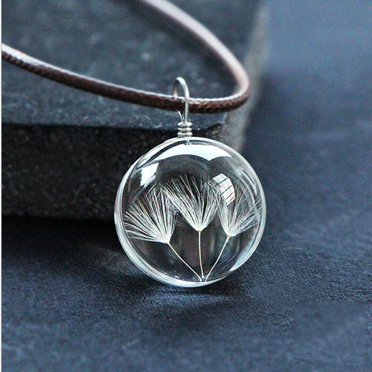 Hot Sale Dandelion Jewelry Crystal Glass Ball Dandelion Necklace Leather Chain Handmade Dried Flowers Pendant Long Necklace Gift