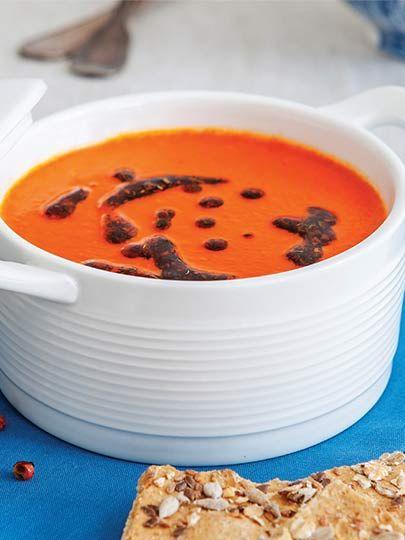 Közlenmiş kırmızıbiber çorbası