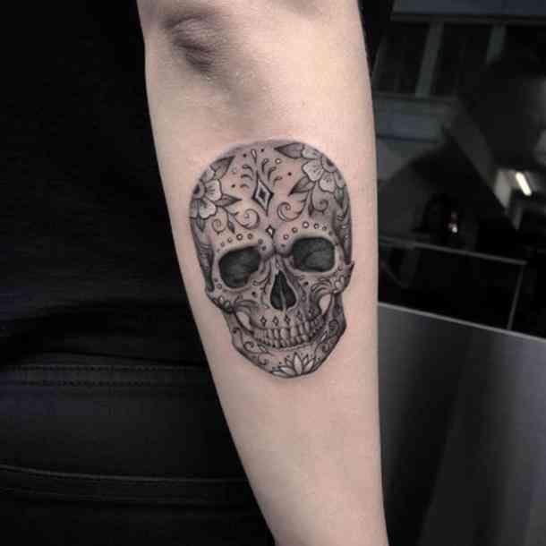 50 Stunning Sugar Skull Tattoo Design Ideas Their Meanings Candy Skull Tattoo Mexican Skull Tattoos Skull Tattoo