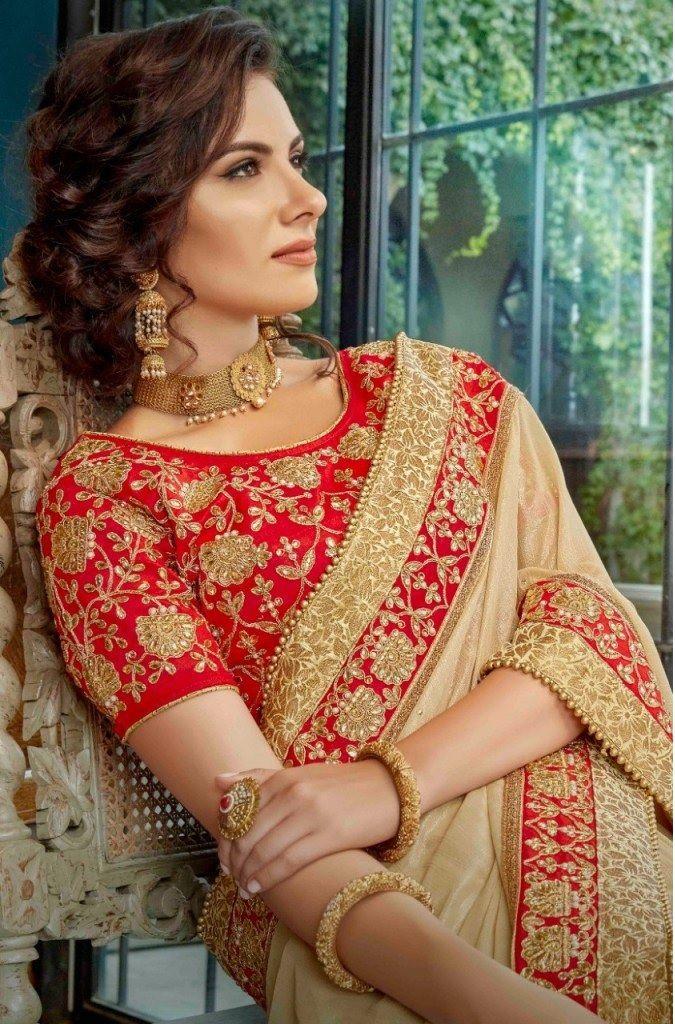 Red Designer Jacquard Silk Blend Saree Sari Blouse Party Wear Sari Women Cloth