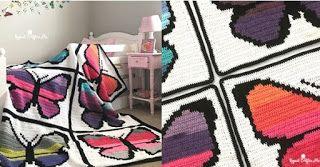 Tina's handicraft : video tutorial - crochet blanket with butterflies