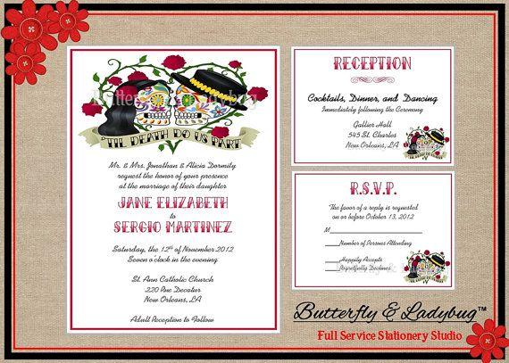 Items Similar To Sugar Skull Day Of The Dead Rockabilly Wedding Invitation  Suite (DIY Press Ready DIGITAL File)  Invitation Wu0026 2 Enclosure Cards On  Etsy
